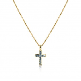 18k Yellow Gold Blue Topaz Cross Pendant 1.10ct